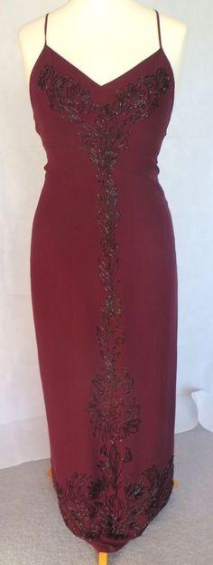 Karen MIllen Burgundy Beaded 100% Silk Evening Dress Sz 12 UK