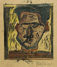 William H. Johnson, Self-Portrait (ca. 1930-1935) Born: Florence, South Carolina 1901  Died: Central Islip, New York 1970  hand-colored woodcut on paper   sheet: 9 1/8 x 8 1/8 in. (23.3 x 20.5 cm)   Smithsonian American Art Museum   1967.59.795