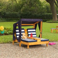 Kidkraft Double Chaise Lounger - Honey and Navy | Kids Outdoor Furniture #contemporaryOutdoorFurniture