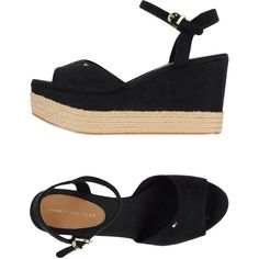 Tommy Hilfiger Espadrilles (430 RON) ❤ liked on Polyvore featuring shoes, sandals, black, espadrille sandals, ankle strap wedge sandals, black wedge shoes, espadrille wedge sandals and wedge heel sandals
