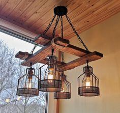 Rustic Light Fixture Hanging Light Rustic Lighting   Etsy Rustic Pendant Lighting, Vintage Industrial Lighting, Wooden Chandelier, Wood Pendant Light, Dining Lighting, Rustic Lamps, Farmhouse Lighting, Rustic Farmhouse, Rustic Sunroom