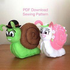 Pdf Sewing Patterns, Sewing Tutorials, Monkey Pattern, Dragon Pattern, Black Felt, Digital Pattern, Embroidery Thread, Snail, Plushies