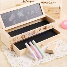 Multifunctional Wooden School Pencil Box Pen Case Vintage Stationery Holder New