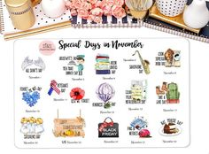 Special Days in November Wacky Holiday Stickers for by StiandCo Special Days In November, Calendar Stickers, Printable Calendars, Bullet Journal Icons, Wacky Holidays, National Days, All Saints Day, Happiness Project, Life Plan