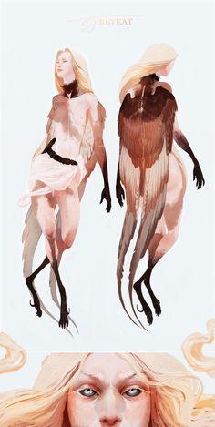 girls by Olya Bossak on ArtStation. Fantasy Character Design, Character Design Inspiration, Character Concept, Character Art, Creature Concept Art, Creature Design, Fantasy Creatures, Mythical Creatures, Pretty Art