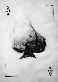 digital composition of a smoking ace of spade playing card with grungy background.