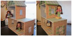 DIY cardboard dollhouse. A coat of Mod Podge creates support so the cardboard does not cave.