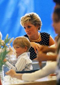 August 8, 1990: Princess Diana and Prince William and Prince Harry on a fun visit to the French-Canadian 'Le Cirque du Soleil'.