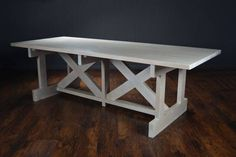 Custom Whitewashed Alder Dining Table Whitewashed Double Horizontal X Base with Plank Top Sold in As Is Condition, Final Sale Item ORIGINAL PRICE: $5,995.00
