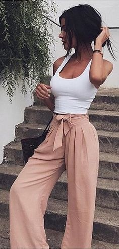 #summer #outfits White Tank + Blush Bow Wide Pants