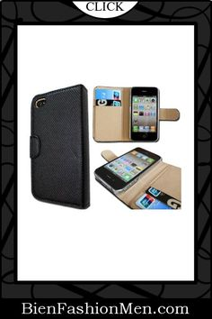 Mens iPhone Wallet ♦ iPhone Case ♦ Wallet Leather Case Credit ID Card slot Holder Cover Pouch For iPhone 4 4S Black $3.98
