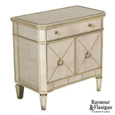 Jane Mirrored Accent Chest | A hanging mirror helps brighten your space, but a mirrored accent chest? Your room will be positively glowing!