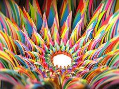 colored paper art by Jen Stark