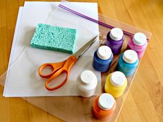 no mess abstract art using sponges, paint, and a plastic bag for the little ones