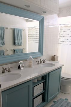 lovin' this color for kids bathroom cabinets!