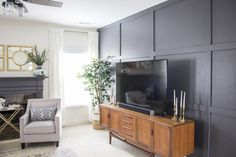 Modern Transitional Family Room – Love Your Abode – Tv Room Living Room Panelling, Accent Walls In Living Room, Living Room Tv, Living Room Modern, Living Room Designs, Family Room Walls, Family Room Design, Do It Yourself Decoration, Modern Family Rooms