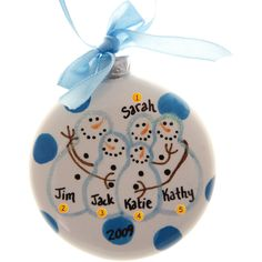 SALE Family Christmas Ornament Ceramic Ball Snow Family Five ...