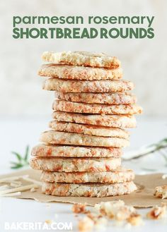 These Parmesan Rosemary Shortbread Rounds are quick and simple slice-n-bake crackers. Tender, buttery, and flavored with Parmesan cheese and fresh rosemary. Baking Recipes, Snack Recipes, Dessert Recipes, Spiced Nuts, Easy Snacks, Shortbread, Parmesan, Food Inspiration, Baked Goods
