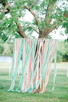 #backdrop #ribbon #PastelWeddings Photography: Jordan Brittley - jordanbrittley.com  View entire slideshow: Pretty Pastel Wedding Details  on http://www.stylemepretty.com/collection/232/