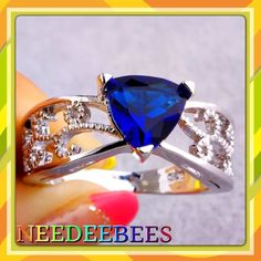 HPDark blue Sapphire quartz ring Bold blue Sapphire set in sterling silver Jewelry Rings