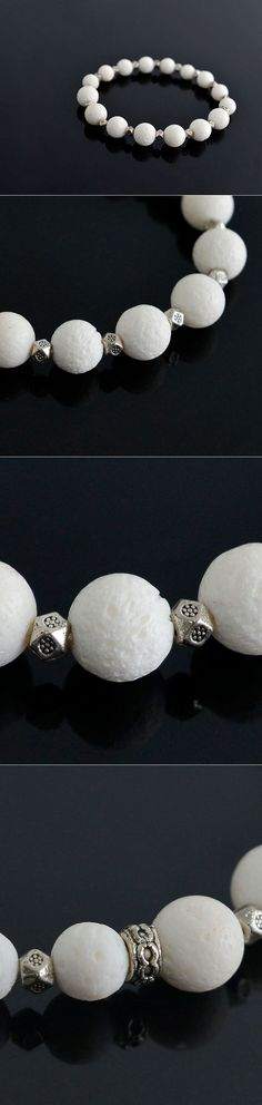 Accessories :: Real White Coral Silver Square Beads-Bracelet 213 - Mens Fashion Clothing For An Attractive Guy Look