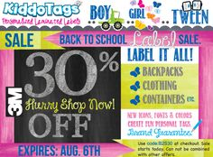 30% OFF, 5 DAYS ONLY - ALL Labels Printing on 3M - High performance materials made to last longer than the life of the product. :0) Expires Aug.6th - Hurry!