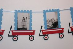This is for one 12 or 13 month birthday banner. Photos are 5x7 that I will print or you can print your own. I can do other Little Red Wagon