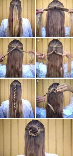 70 Super Easy DIY Hairstyle Ideas for Medium Hair . - 70 Super Easy DIY Hairstyle Ideas for Medium Hair . Easy Hairstyles For Long Hair, Trendy Hairstyles, Braided Hairstyles, Hairstyle Ideas, Fashion Hairstyles, Easy Hairstyles Tutorials, Simple Hairdos, Simple Hairstyles For School, Rose Hairstyle