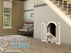 LilyOfTheValley's Under Stairs Pet House ASHTON: I thought this was genius/the cutest thing ever! DOWNLOAD AT: http://www.thesimsresource.com/themes/ShabbyChic/downloads/details/category/sims3-sets-objects-pets/title/under-stairs-pet-house/id/1128516/ CREATOR: LilyOfTheValley NAME: Under Stairs Pet House