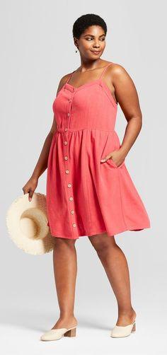 Plus Size Button Front Strappy Dress - Plus Size Summer Dress #plussize
