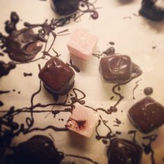 Rose Turkish delight dipped in dark chocolate