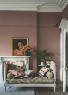 British paint manufacturer Farrow & Ball has expanded its extensive color card with nine new shades. Carefully chosen to balance Farrow & Ball'. Pink Living Room, Interior, Living Room Paint, Home, Living Room Decor, Living Room Diy, House Interior, Interior Design, Living Decor