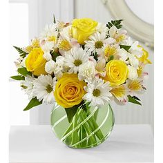Yellow roses, Rosario Peruvian lilies, white carnations, white traditional daisies, and lush green in a green glass bubble bowl vase. Yellow Rose Bouquet, Yellow Bouquets, Lily Bouquet, Yellow Roses, Boquet, Send Flowers Online, Online Flower Shop, Easter Flowers, Valentines Flowers