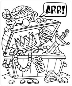 Printable kids coloring pages Pirate Preschool, Pirate Activities, Pirate Crafts, Pirate Art, Pirate Theme, Preschool Crafts, Pirate Coloring Pages, Coloring Pages For Boys, Colouring Pages