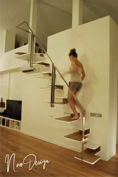 These gifted and stirring Modern Staircase Ideas will make your home look modern and pleasing. Tiny House Stairs, Loft Stairs, Stair Handrail, Staircase Railings, Iron Staircase, Stairways, Railing Design, Staircase Design, Staircase Ideas