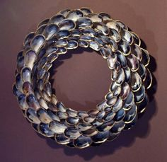 Beautiful Gold Gilded Edge Mussel Shell Wreath MUST SEE. $24.95, via Etsy.