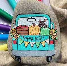 Fall rock painting idea - truck painted rock