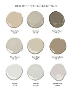 Benjamin Moore - Best selling neutrals: So many ways to do neutral. Soft hues like beige and gray create a calming atmosphere, while black and white introduces drama and flair. Here is a collection of our best selling neautral colors.