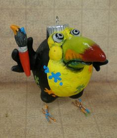Picasso the Toucan by darbella in Polymer Clay by darbelladesigns, SOLD