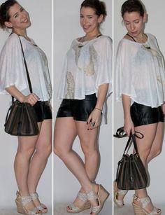 Blog de moda: como usar short de couro, blusa transparente, espadrille e bolsa vintage Fendi. Look do dia com short de couro.