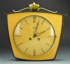 Vintage Key Wind Wall Clock in Yellow