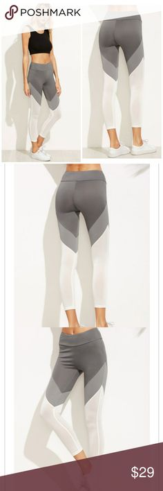 HP!! COLOR BLOCK LEGGINGS Color block leggings featuring dark grey, light grey & white color blocking.  Fabric is very stretchy 100% polyester. This design gives a great slimming effect making your legs look long and lean! $15 firm Pants Leggings