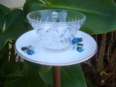 Tea Cup Birdfeeder Upcycled Yard Ornament by AnniesVintageRedone, $6.00