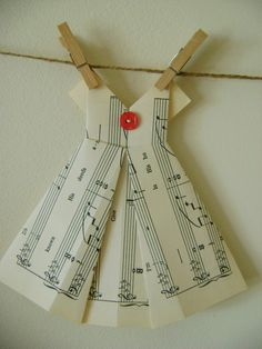 Origami Dress from sheet music.  {Make out of book pages instead}