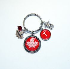 Canada Keyring, Keychain with Charms, Inuksuk, Canada Keychain, monogram keychain, stocking stuffer, Gift under 20, Maple Leaf (7859) Monogram Keychain, Monogram Letters, Canada Maple Leaf, Christmas Coasters, Business Card Case, Gifts For Wine Lovers, Split Ring, Little Gifts, Silver Charms