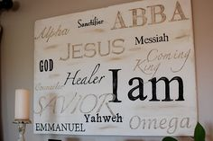 Canvas with the names of the Savior