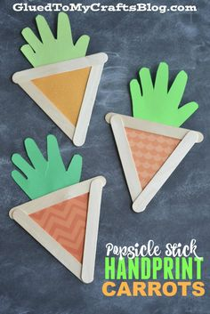 Popsicle Stick Handprint Carrots - Kid Craft crafts popsicle sticks Popsicle Stick Handprint Carrots - Kid Craft For Easter Popsicle Stick Crafts For Kids, Popsicle Sticks, Craft Stick Crafts, Popsicle Art, Craft Sticks, Daycare Crafts, Toddler Crafts, Preschool Crafts, Kid Crafts