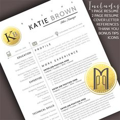 Browse unique items from MYPAPERPIG on Etsy, a global marketplace of handmade, vintage and creative goods. Modern Resume Template, Creative Resume Templates, Cv Template, Design Templates, Cover Letter For Resume, Cover Letter Template, Katie Brown, Resume Writing Tips, Thank You Letter