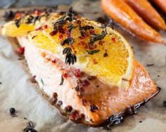 Salmon steak with honey and orange for 1 person - Shellfish Recipes Shellfish Recipes, Seafood Recipes, Cooking Recipes, Healthy Recipes, Food In French, Food Porn, Food Therapy, Salty Foods, How To Cook Fish