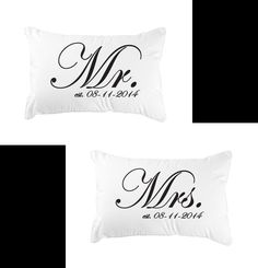 Personalized Mr. and Mrs. Pillowcases with anniversary date (set of two)